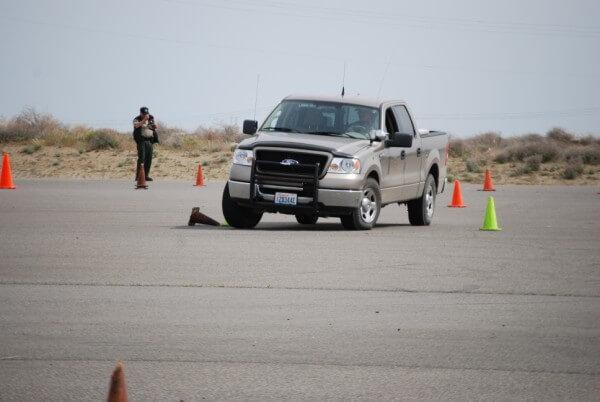 Sgt. Krenz negotiating some tight turns in driving training