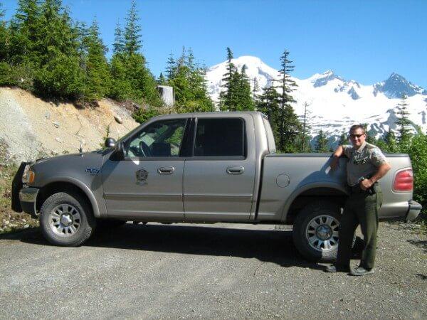 Officer Jones patrolling the Mt. Baker area