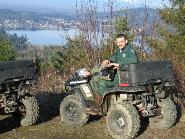Officer McCormick on an ORV patrol